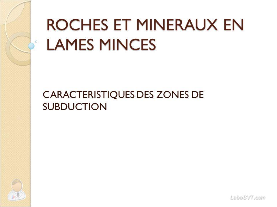 ROCHES ET MINERAUX EN LAMES MINCES CARACTERISTIQUES DES ZONES DE SUBDUCTION LaboSVT. com