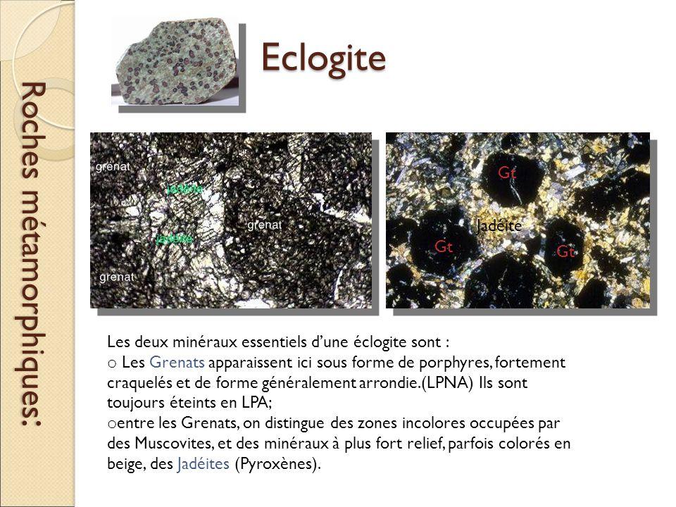 Eclogite Roches métamorphiques : Les deux minéraux essentiels d'une éclogite sont : o Les Grenats apparaissent ici sous forme de porphyres, fortement craquelés et de forme généralement arrondie.(LPNA) Ils sont toujours éteints en LPA; o entre les Grenats, on distingue des zones incolores occupées par des Muscovites, et des minéraux à plus fort relief, parfois colorés en beige, des Jadéites (Pyroxènes).