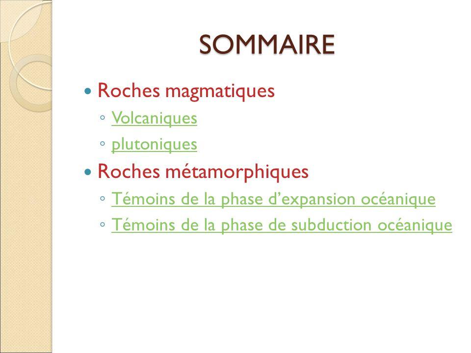 SOMMAIRE  Roches magmatiques ◦ Volcaniques Volcaniques ◦ plutoniques plutoniques  Roches métamorphiques ◦ Témoins de la phase d'expansion océanique Témoins de la phase d'expansion océanique ◦ Témoins de la phase de subduction océanique Témoins de la phase de subduction océanique