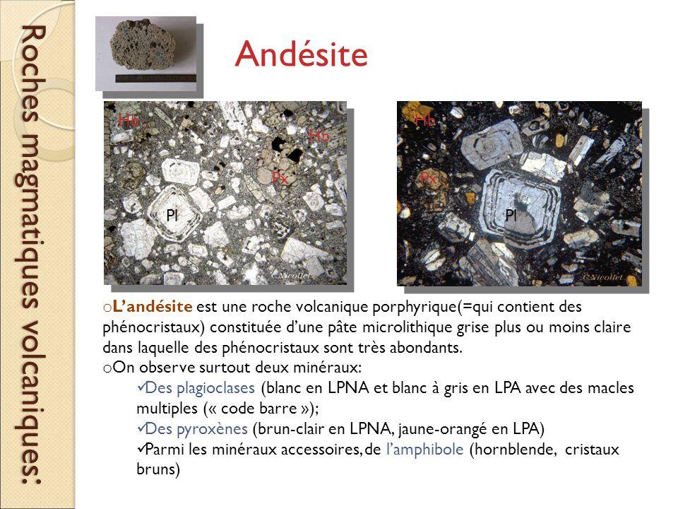 Roches magmatiques volcaniques : o L'andésite est une roche volcanique porphyrique(=qui contient des phénocristaux) constituée d'une pâte microlithique grise plus ou moins claire dans laquelle des phénocristaux sont très abondants.