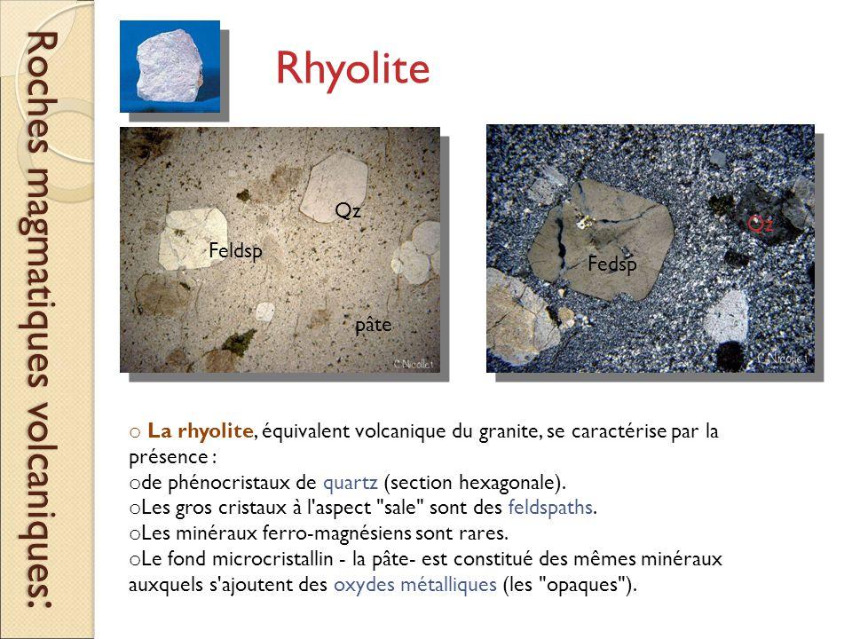 RHYOLITE Roches magmatiques volcaniques : Rhyolite o La rhyolite, équivalent volcanique du granite, se caractérise par la présence : o de phénocristaux de quartz (section hexagonale).