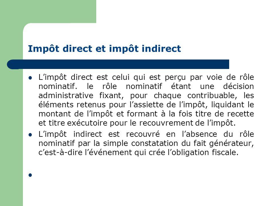 Impôt direct et impôt indirect  L'impôt direct est celui qui est perçu par voie de rôle nominatif.