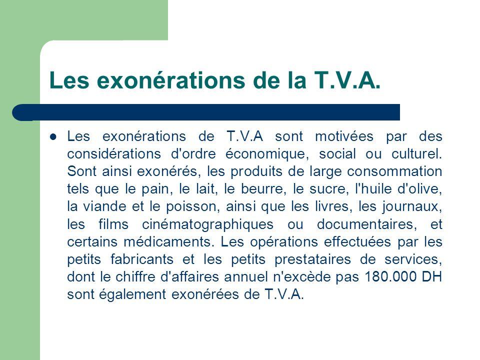 Les exonérations de la T.V.A.