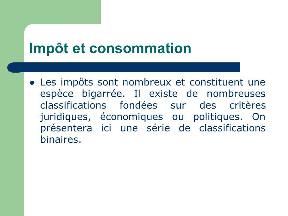 Impôts sur la consommation ou impôts sur la dépense 1.