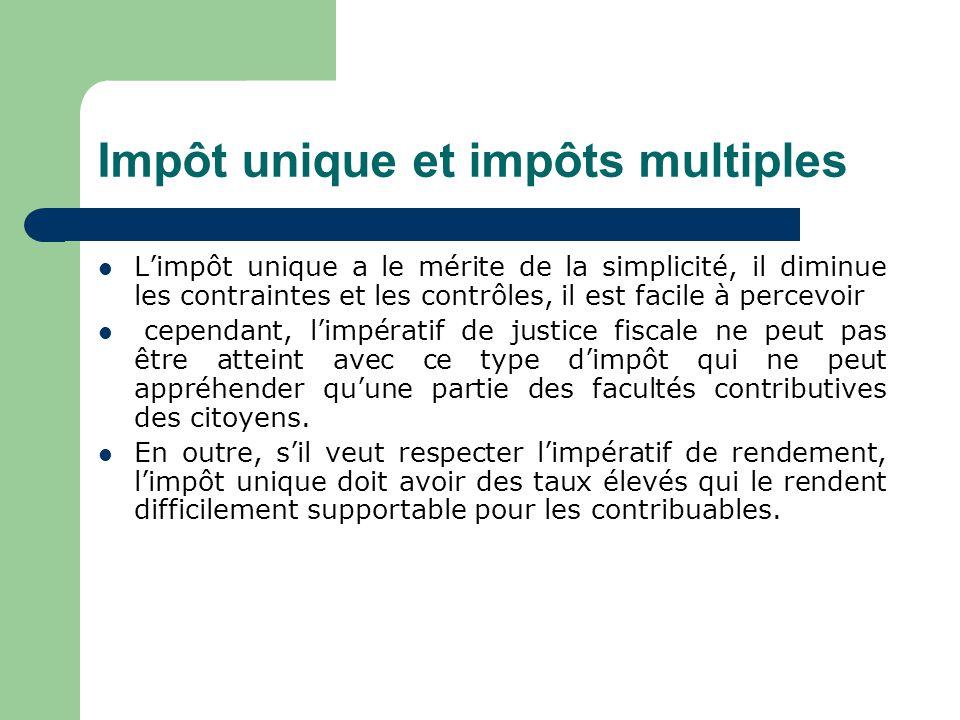 Impôt unique et impôts multiples EEn fait, dans tous les pays, il existe une multiplicité d'impôts constituant le système fiscal.