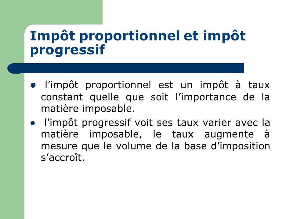 Impôt proportionnel et impôt progressif  l'impôt proportionnel est un impôt à taux constant quelle que soit l'importance de la matière imposable.