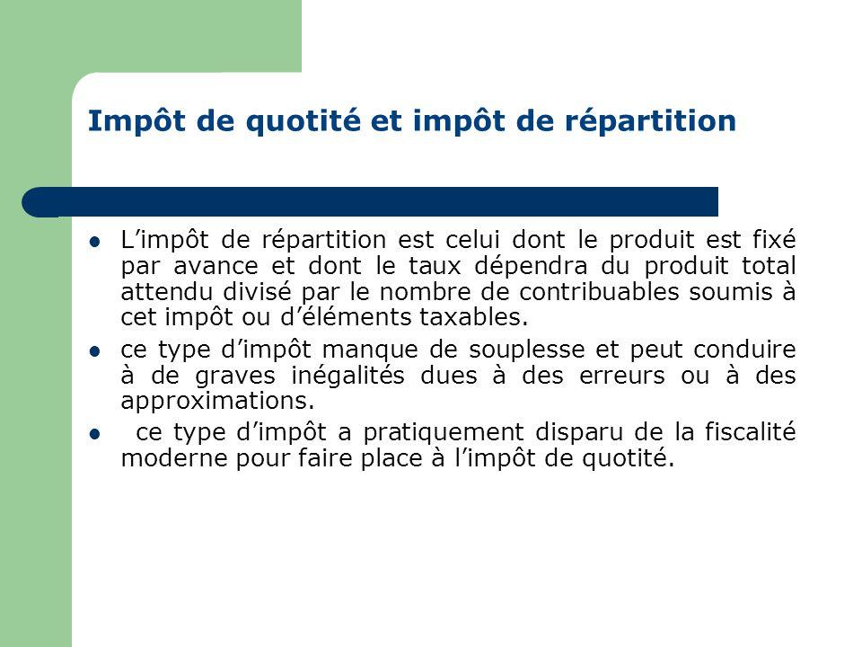 Impôt de quotité et impôt de répartition  Avec l'impôt de quotité, le taux de l'impôt est fixé par avance ; le produit global de l'impôt, qui est lié à la quantité de la matière imposable, n'étant connu qu'avec une certaine approximation, il faudra attendre la fin des opérations de recouvrement pour le connaître avec précision.