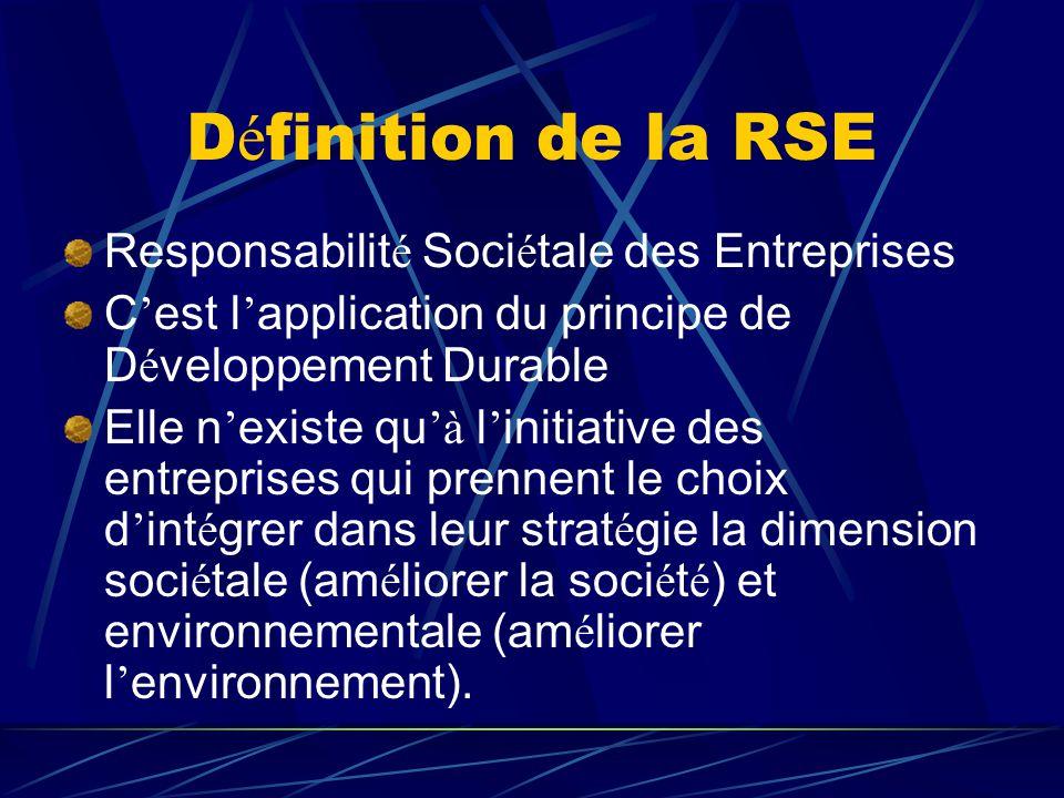 D é finition de la RSE Responsabilit é Soci é tale des Entreprises C ' est l ' application du principe de D é veloppement Durable Elle n ' existe qu '