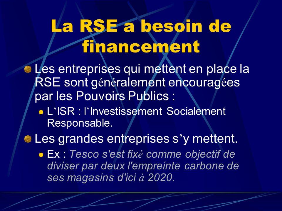 La RSE a besoin de financement Les entreprises qui mettent en place la RSE sont g é n é ralement encourag é es par les Pouvoirs Publics :  L ' ISR :