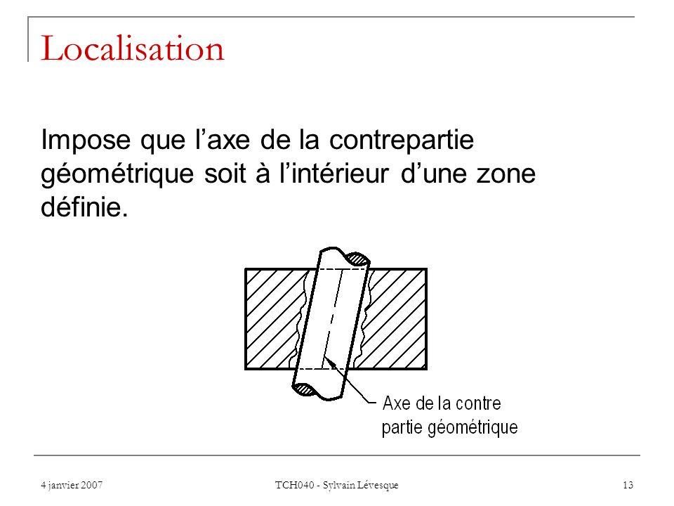 4 janvier 2007 TCH040 - Sylvain Lévesque 13 Localisation Impose que l'axe de la contrepartie géométrique soit à l'intérieur d'une zone définie.