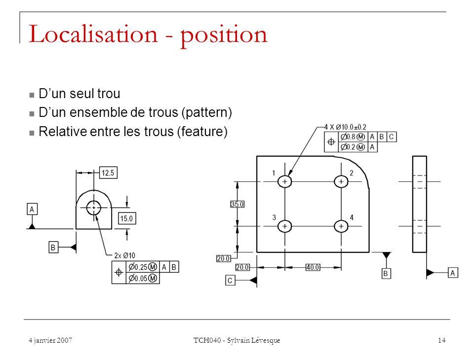 4 janvier 2007 TCH040 - Sylvain Lévesque 14 Localisation - position  D'un seul trou  D'un ensemble de trous (pattern)  Relative entre les trous (fe