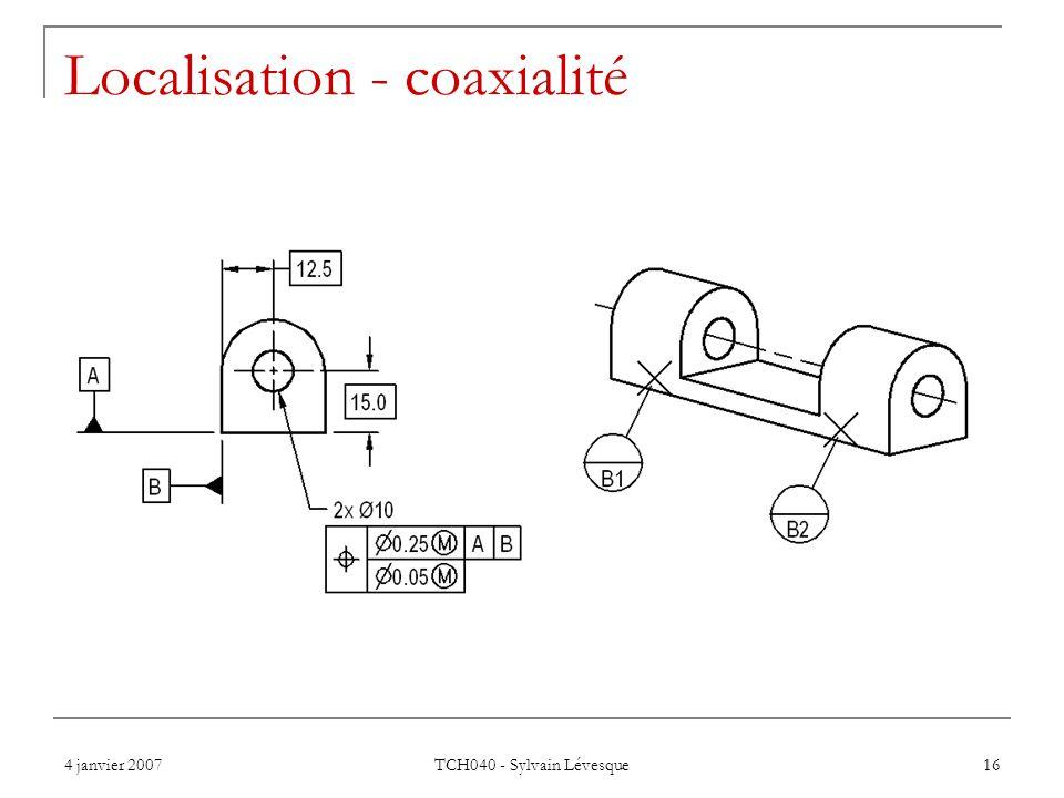 4 janvier 2007 TCH040 - Sylvain Lévesque 16 Localisation - coaxialité