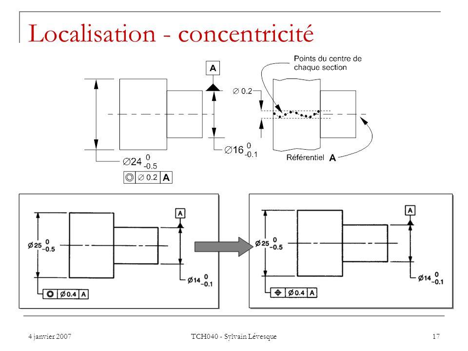 4 janvier 2007 TCH040 - Sylvain Lévesque 17 Localisation - concentricité