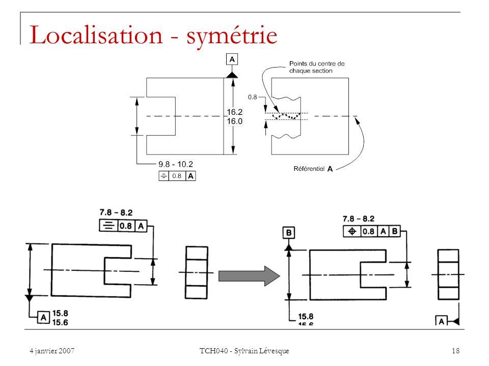 4 janvier 2007 TCH040 - Sylvain Lévesque 18 Localisation - symétrie