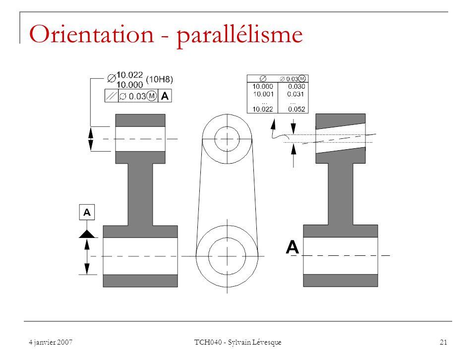 4 janvier 2007 TCH040 - Sylvain Lévesque 21 Orientation - parallélisme