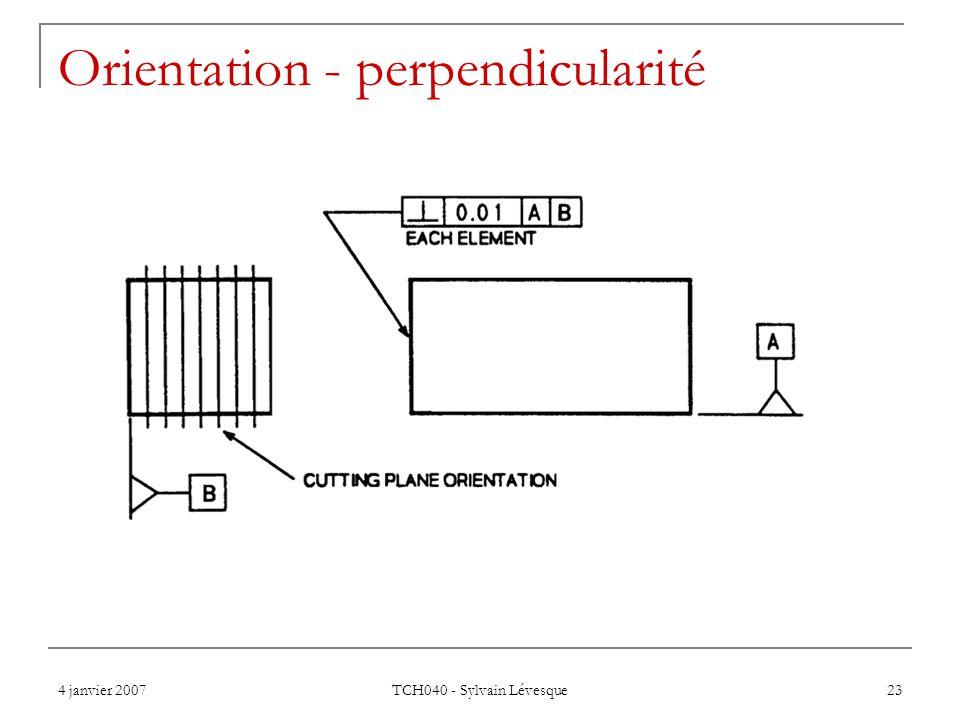 4 janvier 2007 TCH040 - Sylvain Lévesque 23 Orientation - perpendicularité
