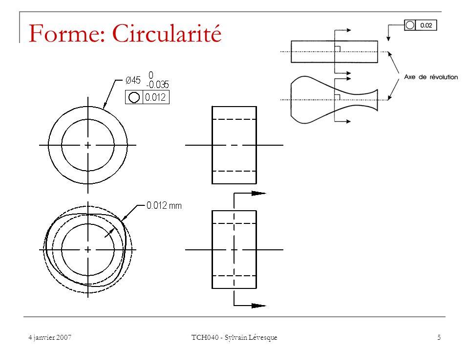4 janvier 2007 TCH040 - Sylvain Lévesque 5 Forme: Circularité