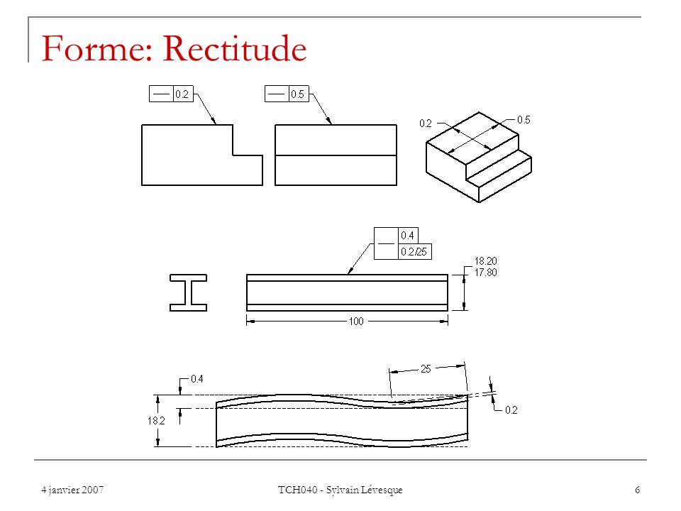 4 janvier 2007 TCH040 - Sylvain Lévesque 6 Forme: Rectitude