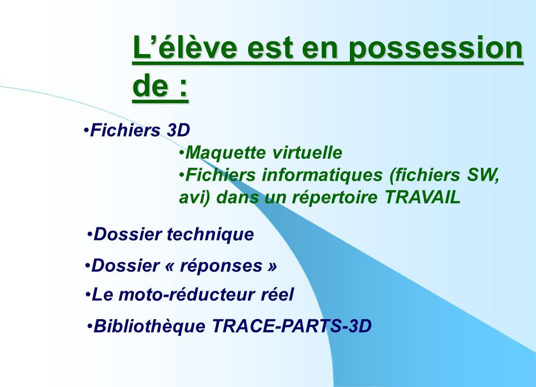 L'élève est en possession de : •Dossier technique •Fichiers 3D •Maquette virtuelle •Fichiers informatiques (fichiers SW, avi) dans un répertoire TRAVA