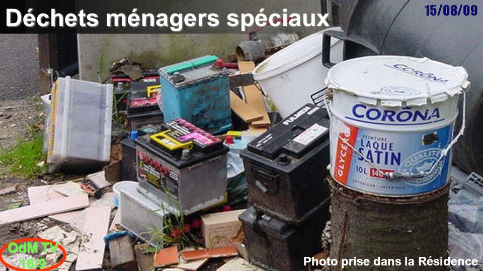 15/08/09 OdM TV 16/9 Deuxième mardi du mois Objets encombrants Rappel : gravats, peintures, solvants ne sont pas des objets encombrants