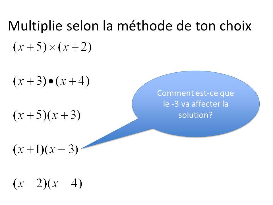Multiplie selon la méthode de ton choix Comment est-ce que le -3 va affecter la solution?