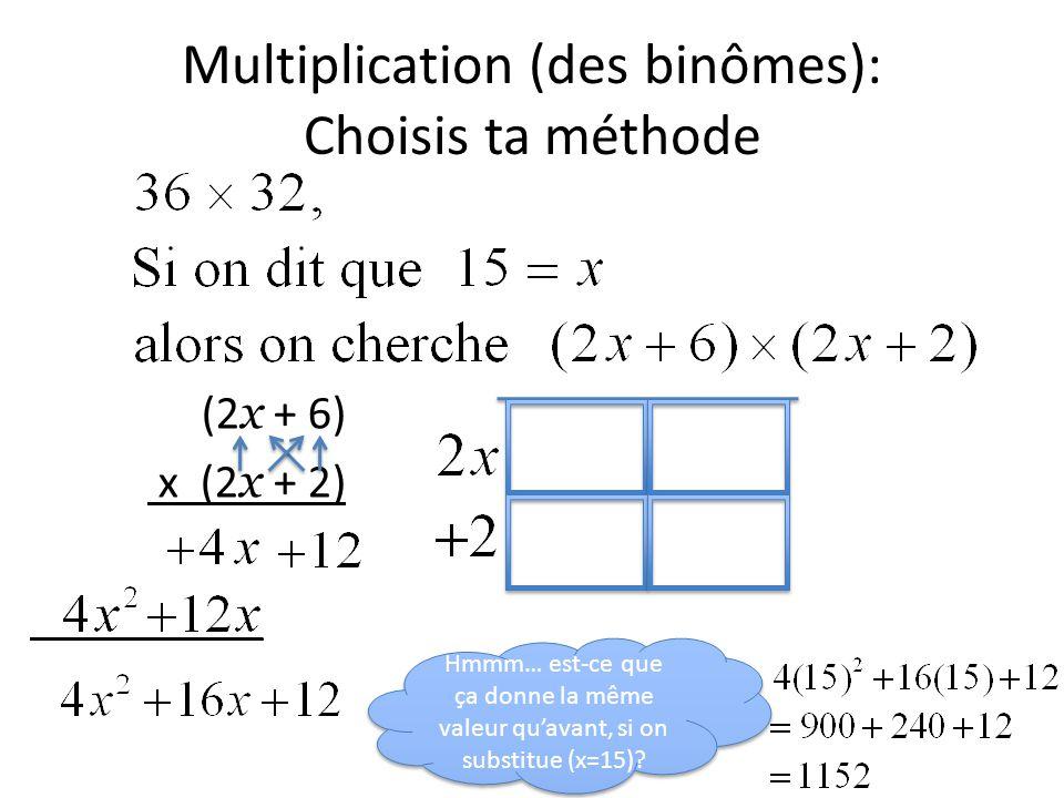 Multiplication (des binômes): Choisis ta méthode (2 x + 6) x (2 x + 2) __________ Hmmm… est-ce que ça donne la même valeur qu'avant, si on substitue (