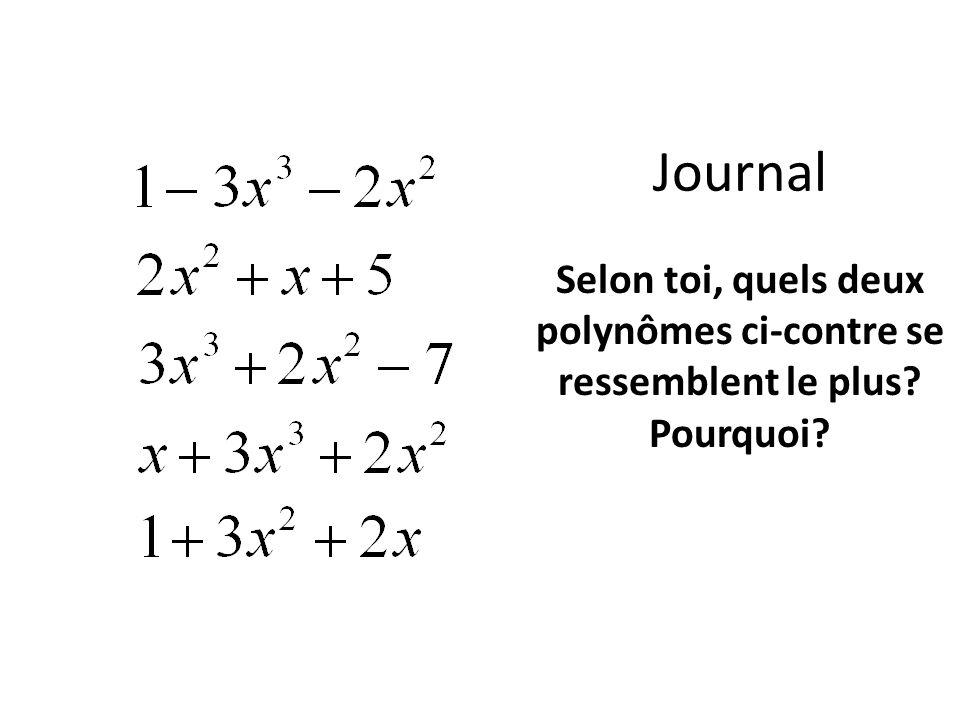 Journal Selon toi, quels deux polynômes ci-contre se ressemblent le plus? Pourquoi?
