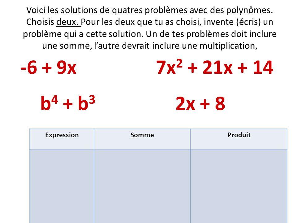 Voici les solutions de quatres problèmes avec des polynômes. Choisis deux. Pour les deux que tu as choisi, invente (écris) un problème qui a cette sol