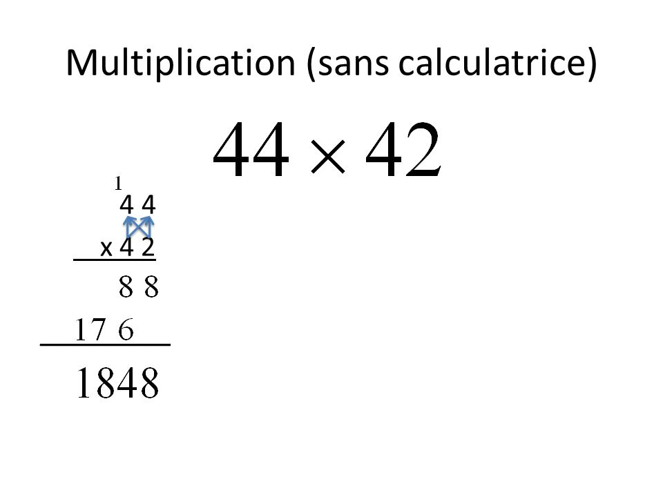 Multiplication (sans calculatrice) 4 4 x 4 2 _________