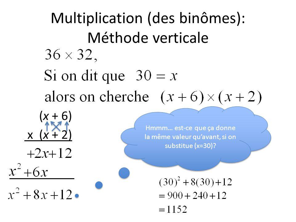 Multiplication (des binômes): Méthode verticale (x + 6) x (x + 2) __________ Hmmm… est-ce que ça donne la même valeur qu'avant, si on substitue (x=30)