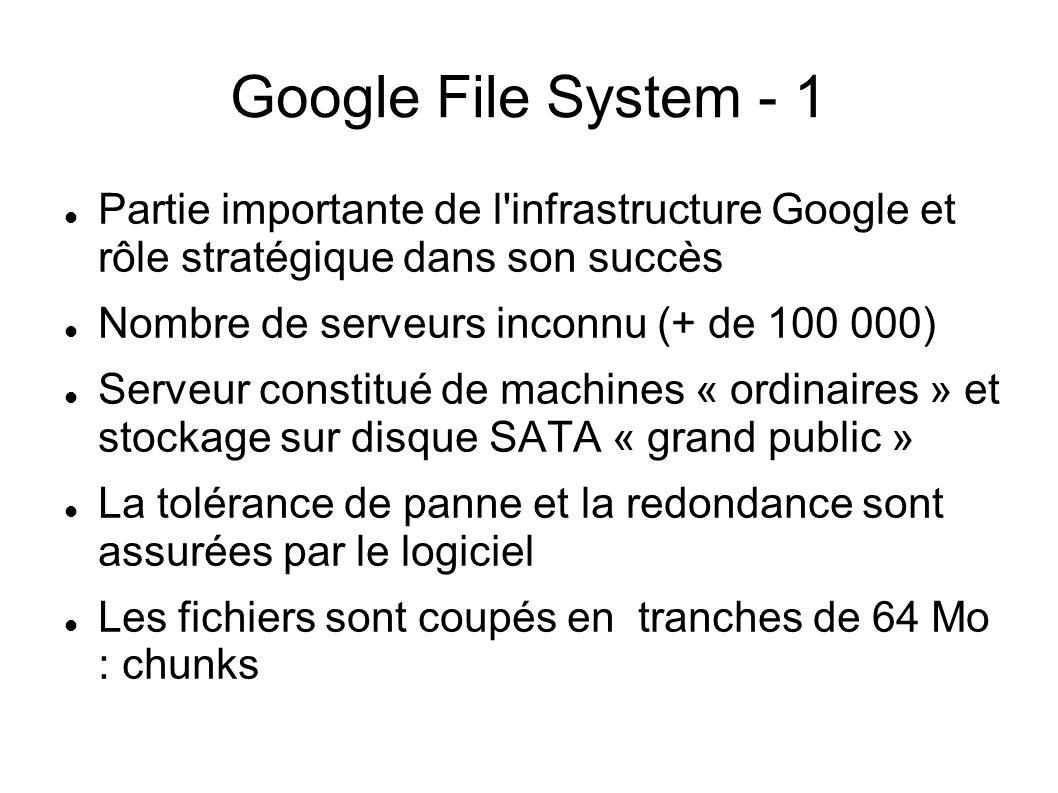 Google File System - 1  Partie importante de l'infrastructure Google et rôle stratégique dans son succès  Nombre de serveurs inconnu (+ de 100 000)