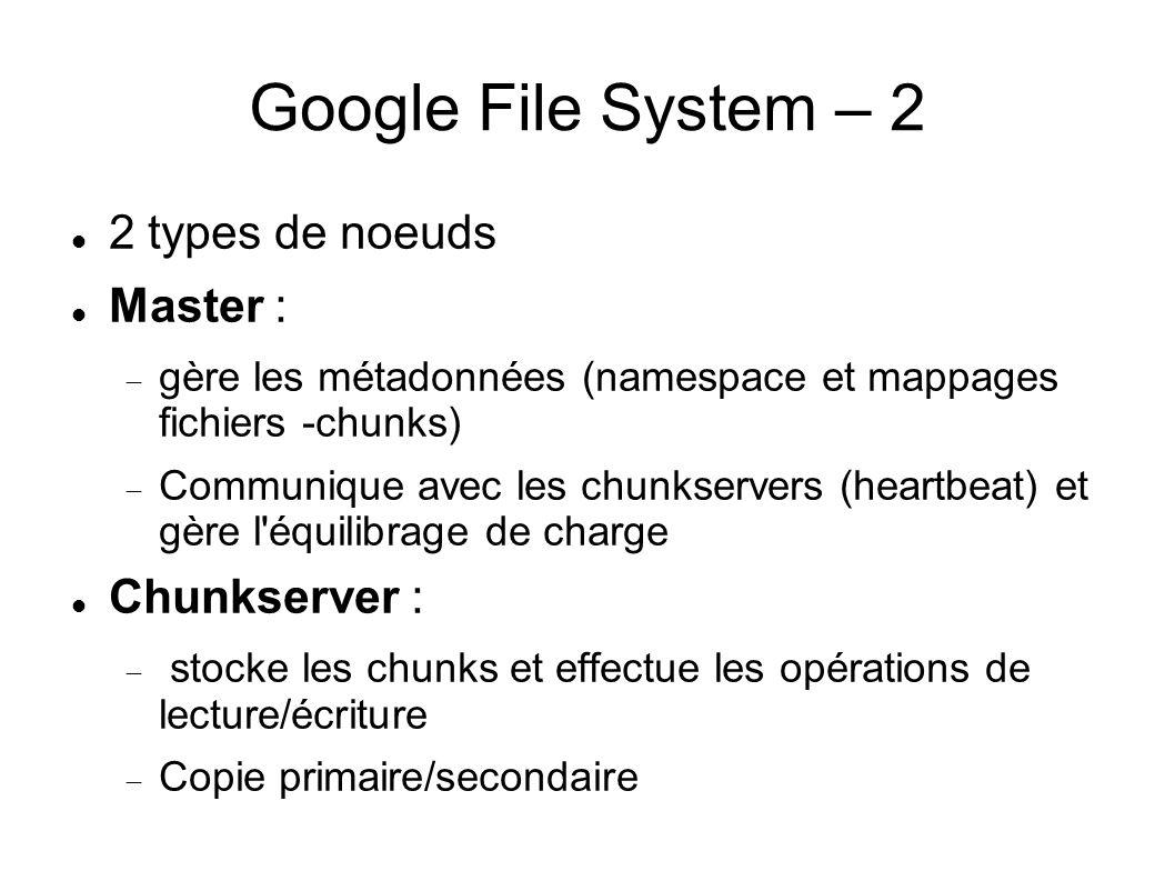 Google File System – 2  2 types de noeuds  Master :  gère les métadonnées (namespace et mappages fichiers -chunks)  Communique avec les chunkserv