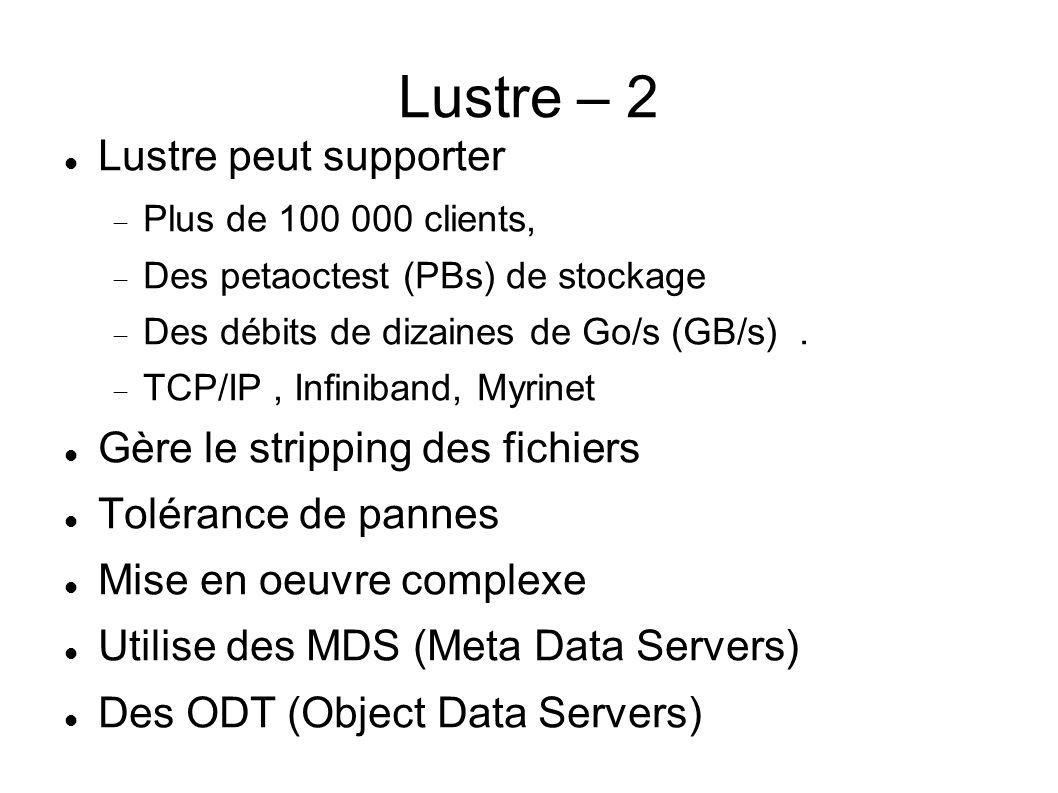 Lustre – 2  Lustre peut supporter  Plus de 100 000 clients,  Des petaoctest (PBs) de stockage  Des débits de dizaines de Go/s (GB/s).  TCP/IP, In