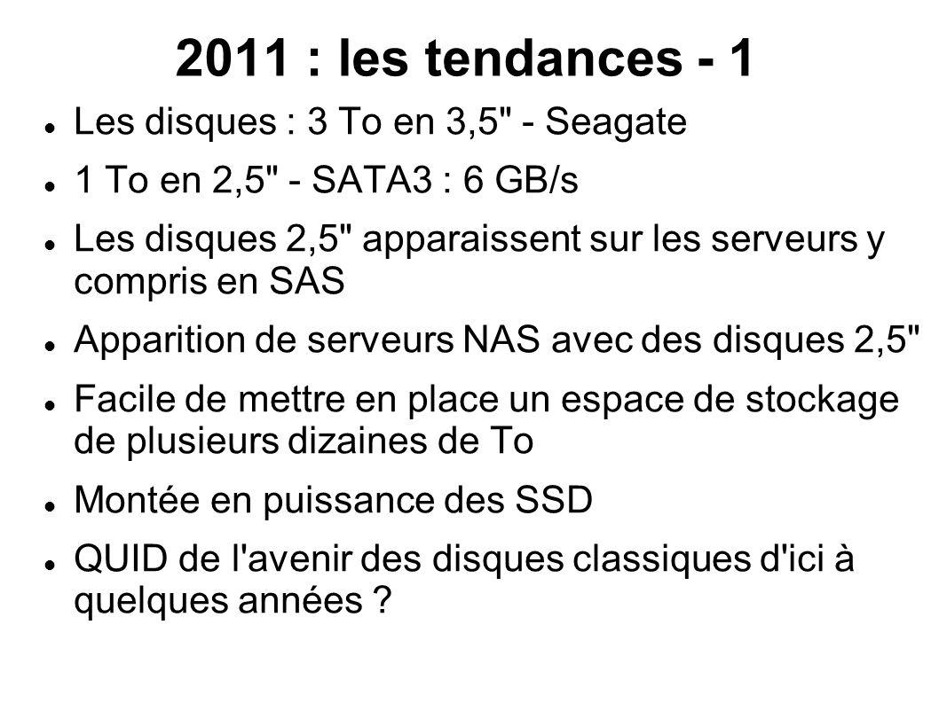 2011 : les tendances - 2  Montée en puissance des SSD même si les prix sont encore élevés  Débits > 100 Mo/s  Quid du vieillissement .