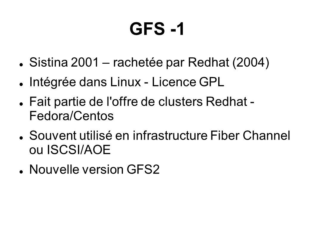 GFS -1  Sistina 2001 – rachetée par Redhat (2004)  Intégrée dans Linux - Licence GPL  Fait partie de l'offre de clusters Redhat - Fedora/Centos 