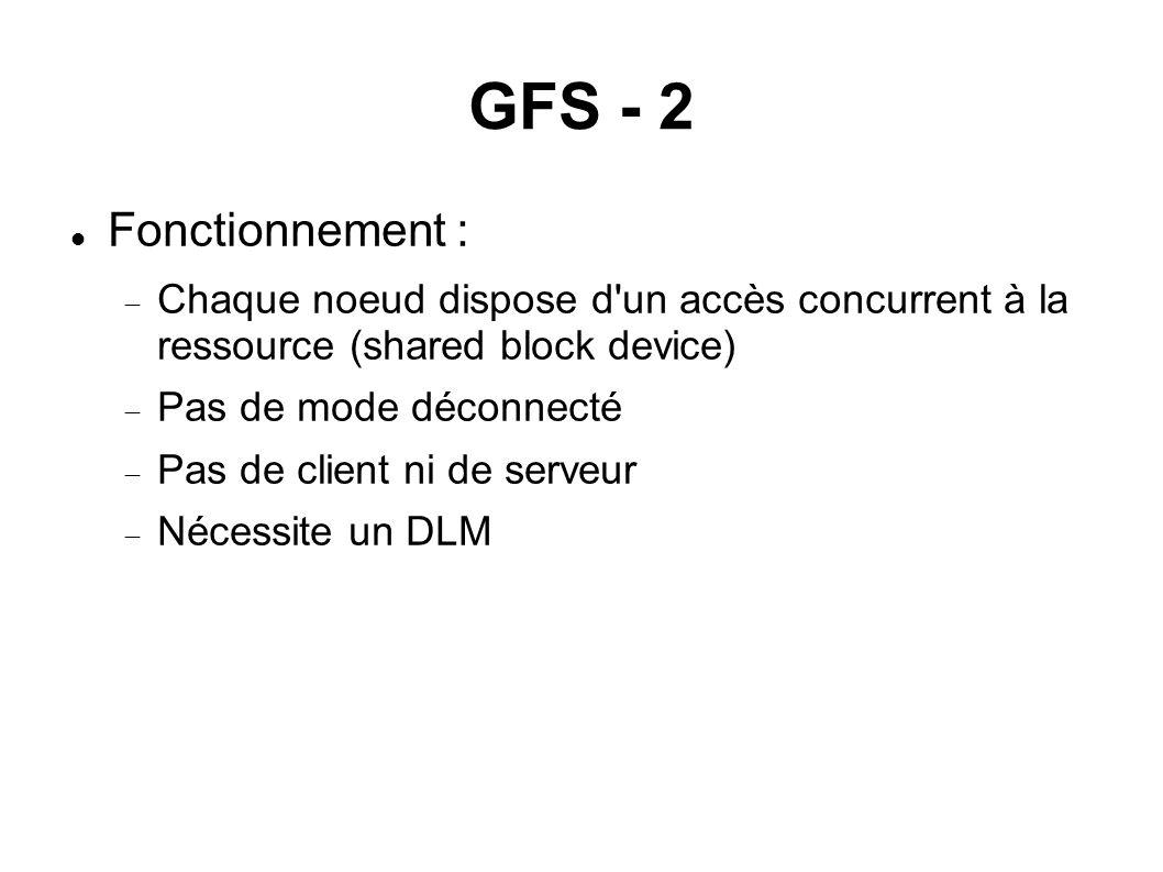 GFS - 2  Fonctionnement :  Chaque noeud dispose d'un accès concurrent à la ressource (shared block device)  Pas de mode déconnecté  Pas de client