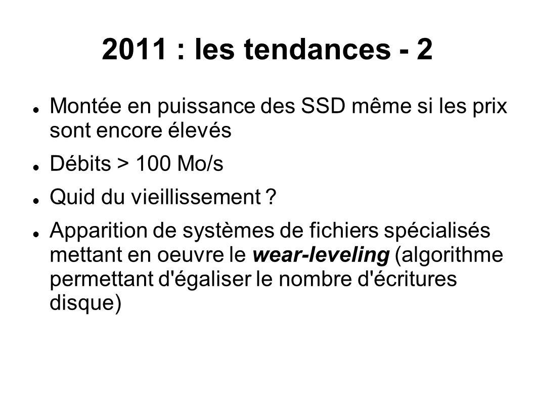 2011 : les tendances - 2  Montée en puissance des SSD même si les prix sont encore élevés  Débits > 100 Mo/s  Quid du vieillissement ?  Apparition