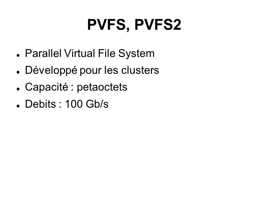 PVFS, PVFS2  Parallel Virtual File System  Développé pour les clusters  Capacité : petaoctets  Debits : 100 Gb/s