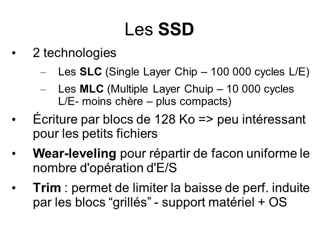Les SSD • 2 technologies – Les SLC (Single Layer Chip – 100 000 cycles L/E) – Les MLC (Multiple Layer Chuip – 10 000 cycles L/E- moins chère – plus co