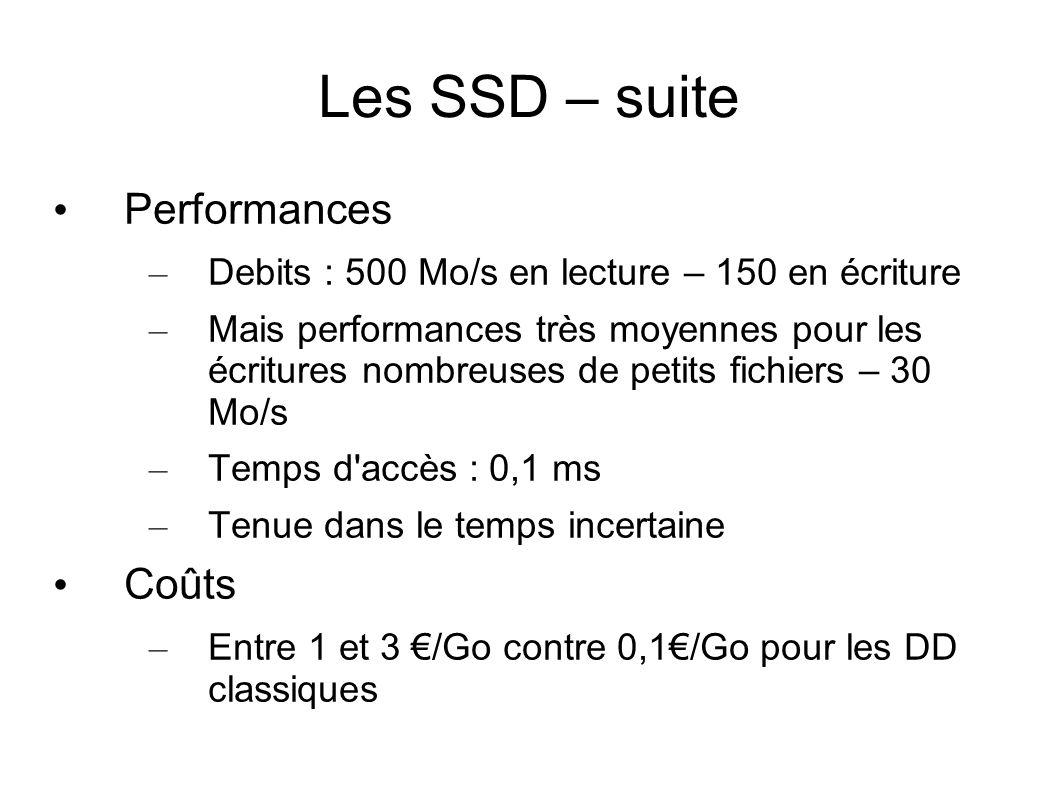 Les SSD – suite • Performances – Debits : 500 Mo/s en lecture – 150 en écriture – Mais performances très moyennes pour les écritures nombreuses de pet