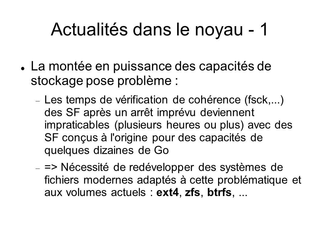 Actualités dans le noyau - 1  La montée en puissance des capacités de stockage pose problème :  Les temps de vérification de cohérence (fsck,...) de
