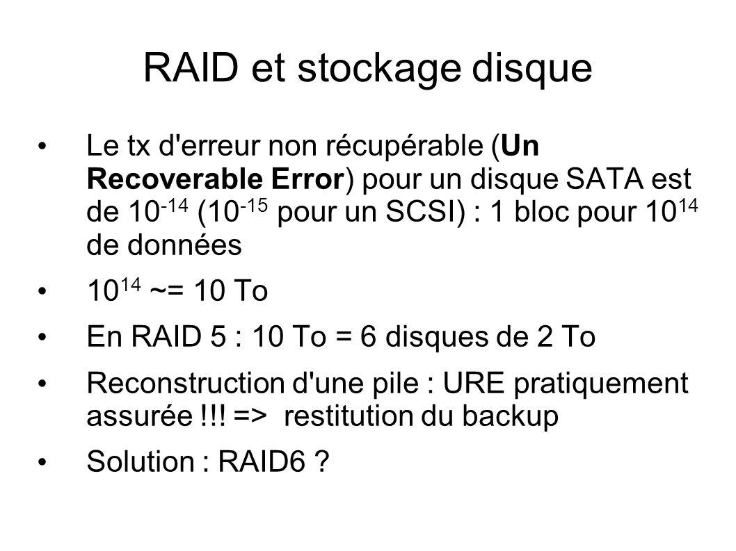 RAID et stockage disque • Le tx d'erreur non récupérable (Un Recoverable Error) pour un disque SATA est de 10 -14 (10 -15 pour un SCSI) : 1 bloc pour