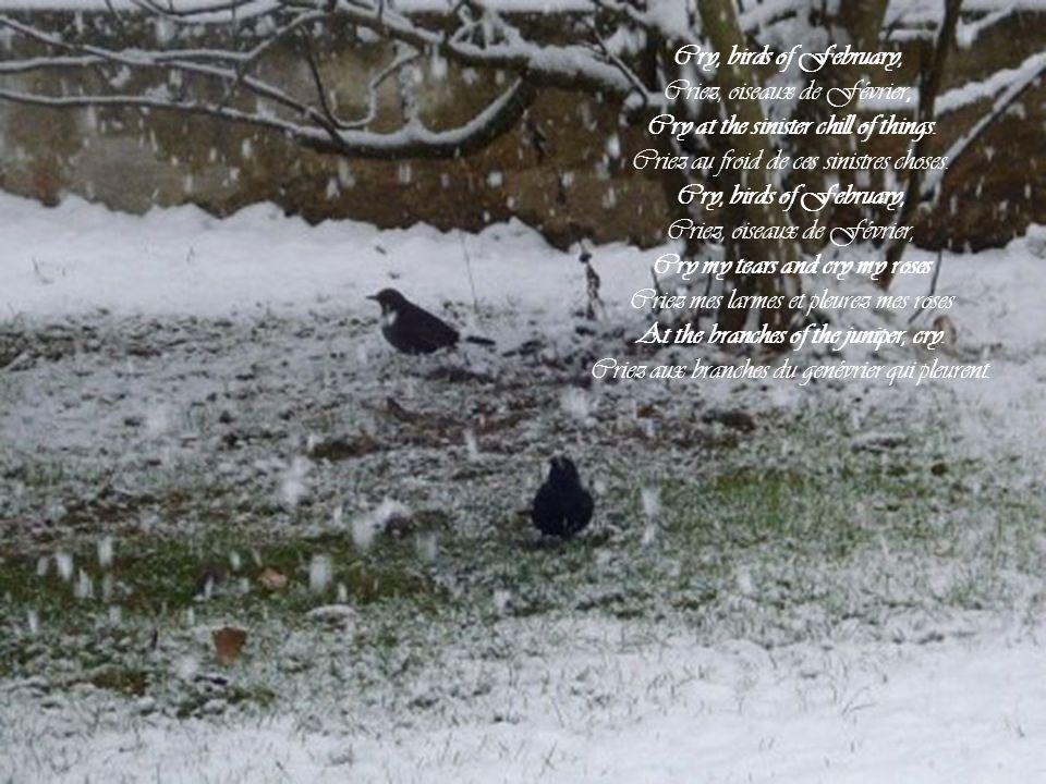 All the ponds are lying frozen, Tous les bassins sont couchés et congelés, Where is my life? My soul is black Où est ma vie? Mon âme est noire And all