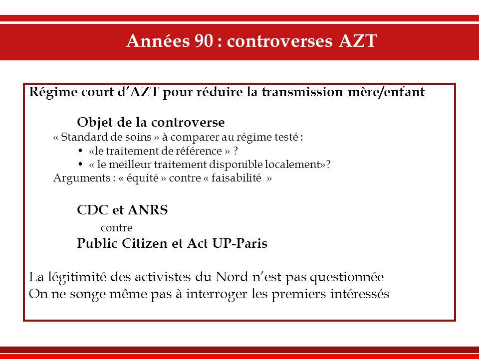 Années 90 : controverses AZT Régime court d'AZT pour réduire la transmission mère/enfant Objet de la controverse « Standard de soins » à comparer au régime testé : •«le traitement de référence » .
