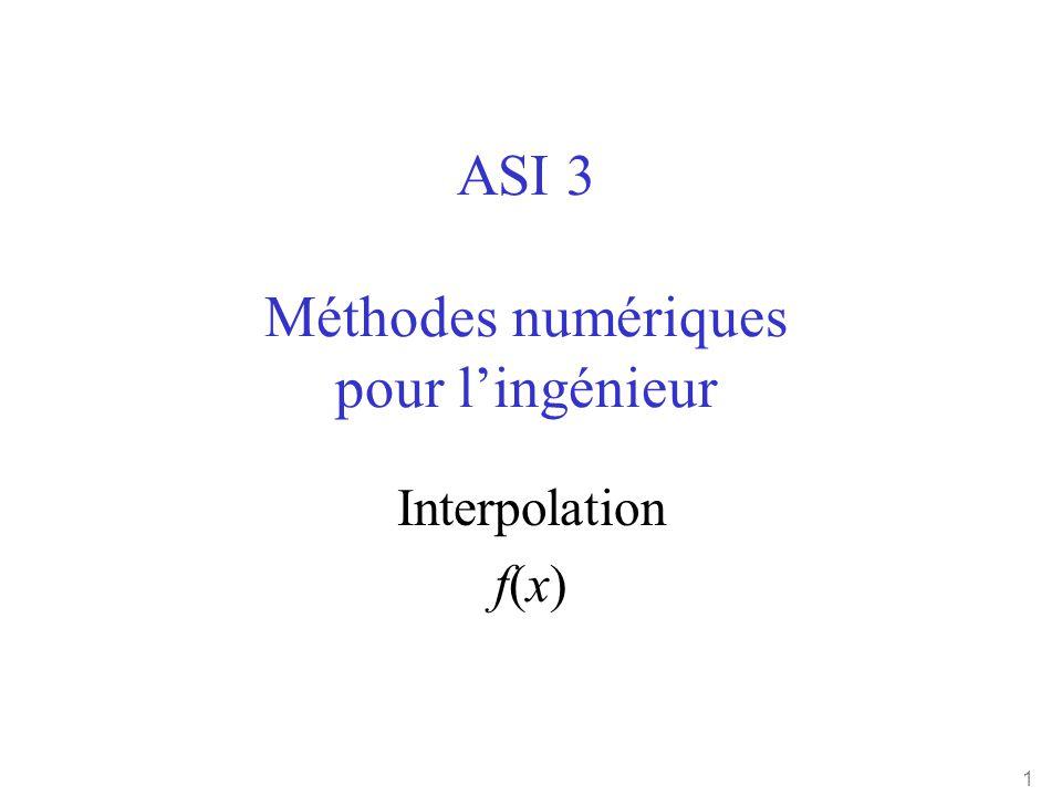 1 ASI 3 Méthodes numériques pour l'ingénieur Interpolation f(x)