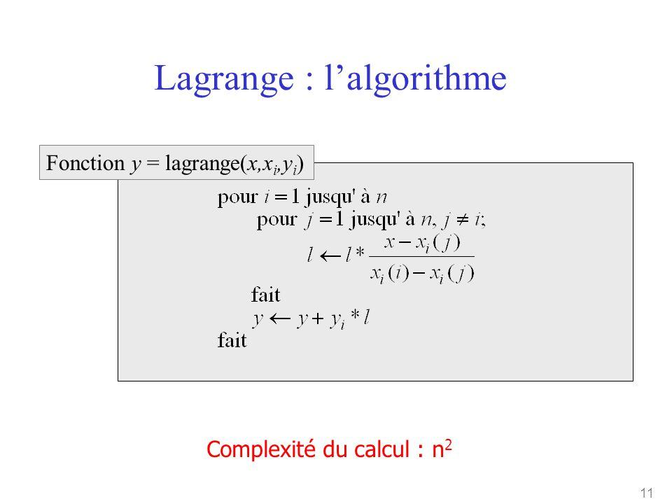 11 Lagrange : l'algorithme Complexité du calcul : n 2 Fonction y = lagrange(x,x i,y i )