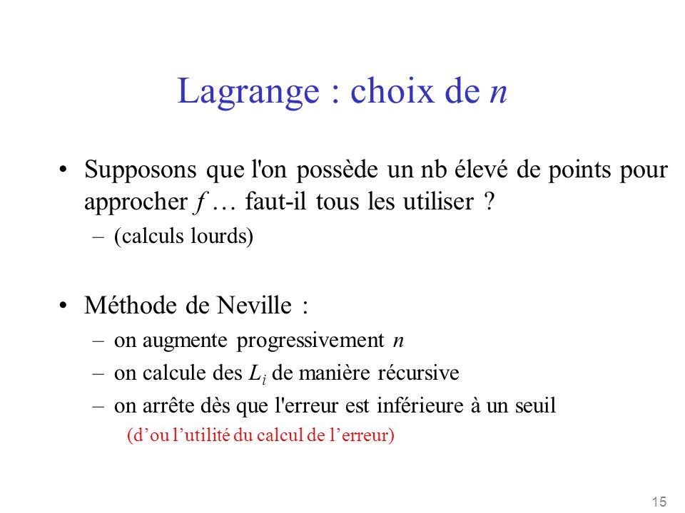 15 Lagrange : choix de n •Supposons que l'on possède un nb élevé de points pour approcher f … faut-il tous les utiliser ? –(calculs lourds) •Méthode d