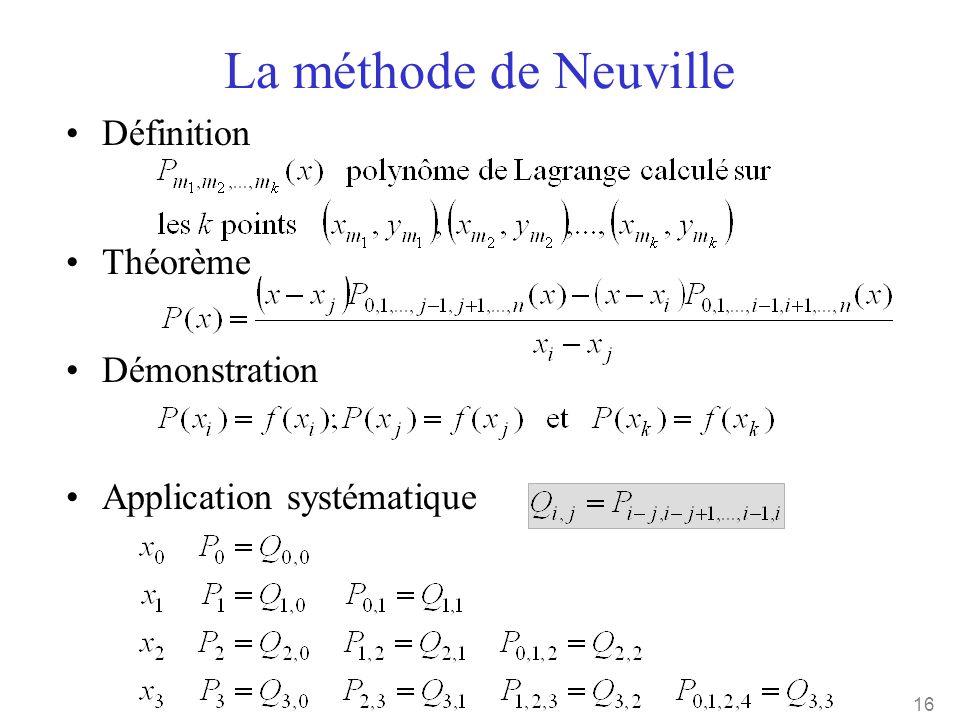 16 La méthode de Neuville •Définition •Théorème •Démonstration •Application systématique