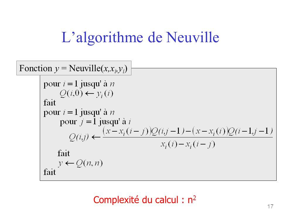17 L'algorithme de Neuville Complexité du calcul : n 2 Fonction y = Neuville(x,x i,y i )