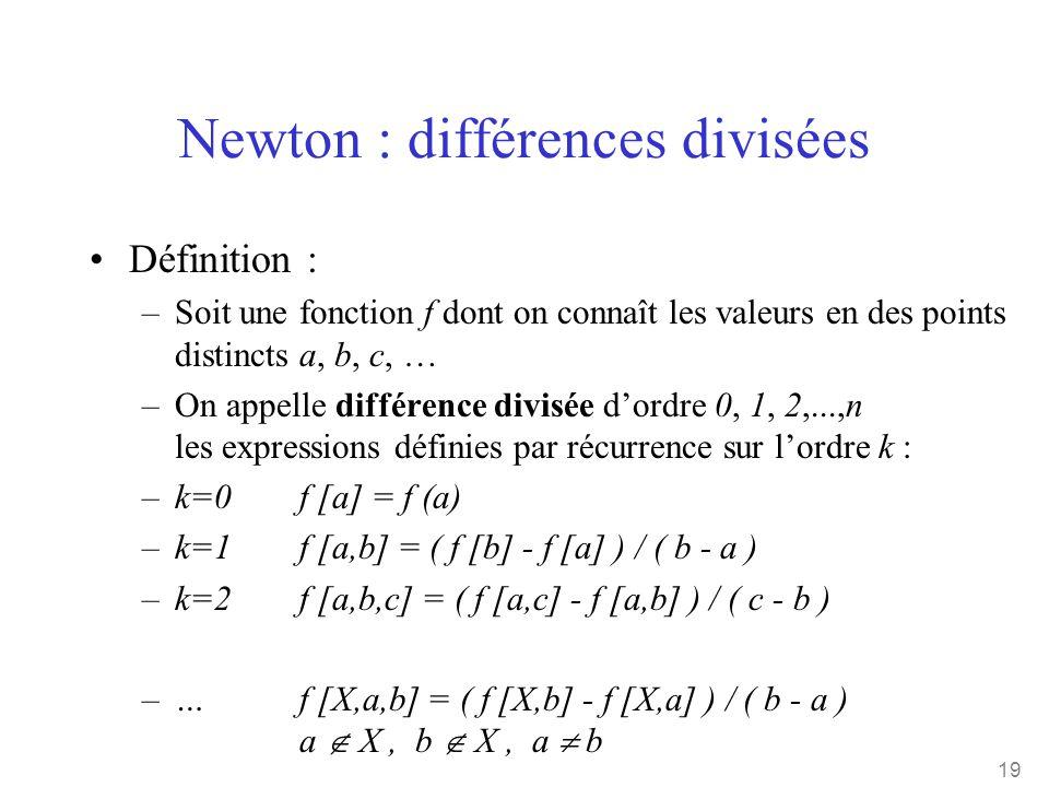 19 Newton : différences divisées •Définition : –Soit une fonction f dont on connaît les valeurs en des points distincts a, b, c, … –On appelle différe